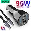 TQUQ 95W 3-port USB C Auto Ladegerät, super Schnelle Lade PPS PD 65W/45W/30W/20W QC4 + 18W für Xiaomi Laptop iPhone12 Samsung galaxy