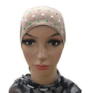 Image 4 - Muslim Under Scarf Bone Bonnet Women Inner Cap Rhinestone Hijab Underscarf Indian Cancer Chemo Cap Islamic Scarf Hair Loss Hat