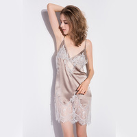 CEARPION Women Nightgown Silk Natural Nighty Female Lace Sexy Backless Nightdress Mini V Neck Sleepwear Intimate Lingerie