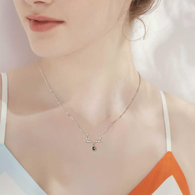 Srebrny Deer Antler cyrkon projekcji naszyjnik 925 w 100 językach romantyczny naszyjnik dla kobiet moda Jewelryl prezent na Boże Narodzenie