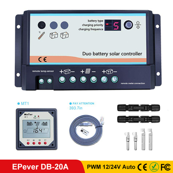 EPever PWM DB-20A Dual Battery Solar Charge Controller 12V 24V Auto Remote Meter MT-1 and connector Regulators Two Solar System