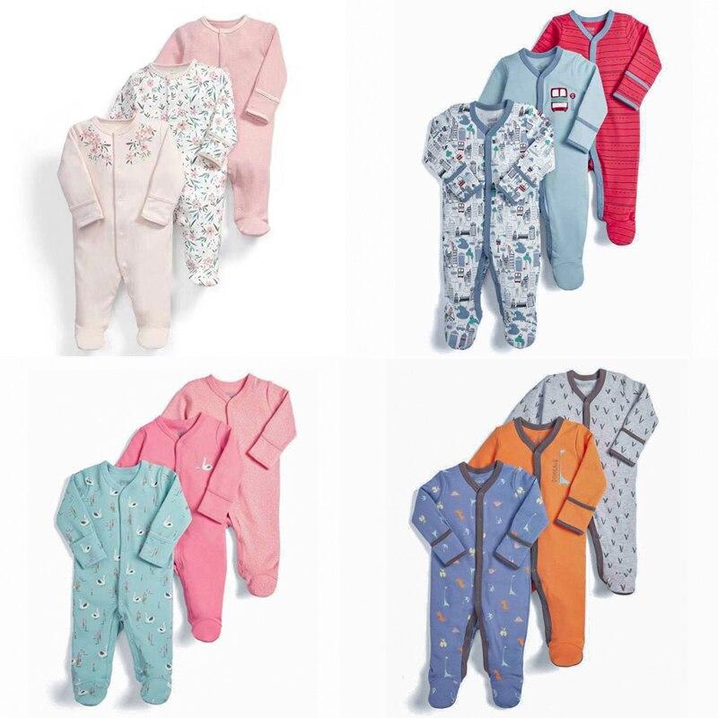 3Pxs/Lot automne doux coton à manches longues infantile bébé garçons barboteuse filles nouveau-né bébé garçons fille combinaison globale vêtements ramper (lot de 3)