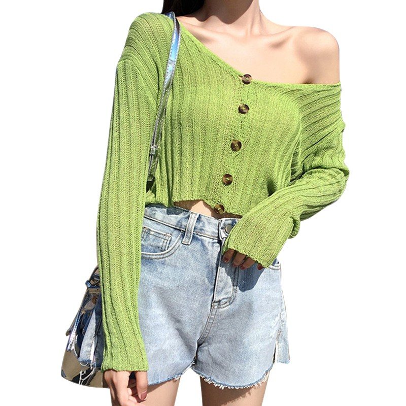 Women Spring Solid Sweatshirt Long Sleeve V-Neck Thin Sweatshirts Sun Protection Button Up Knitted Sweatshirt Top Y
