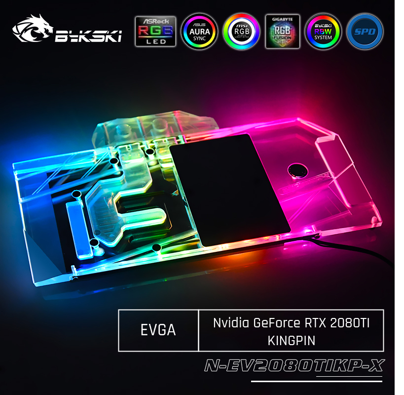 Bykski N-EV2080TIKP-X GPU Water Cooling Block For EVGA <font><b>Nvidia</b></font> Geforce <font><b>RTX</b></font> <font><b>2080Ti</b></font> KiNGPIN Computer Component Heat Dissipation image