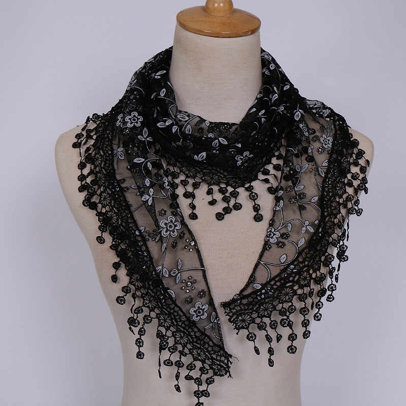 Brand design Summer Lady Lace Scarf Tassel Sheer Metallic Women Triangle Bandage Burntout Floral Print scarves Shawl Scarves#D