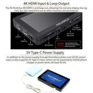 Image 2 - FEELWORLD F6 PLUS 5,5 pulgadas 3D LUT pantalla táctil 4 K HDMI Monitor Full HD 1920x1080 IPS Cámara campo monitor para cámaras Nikon