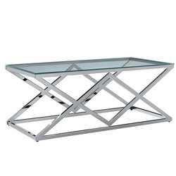 VidaXL طاولة قهوة شفافة 120x60x45 سم خفف من الزجاج والفولاذ المقاوم للصدأ