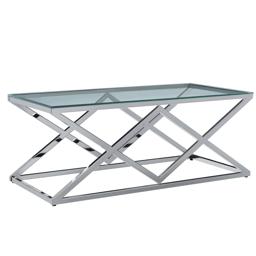 VidaXL Coffee Table Transparent 120x60x45 Cm Tempered Glass And Stainless Steel