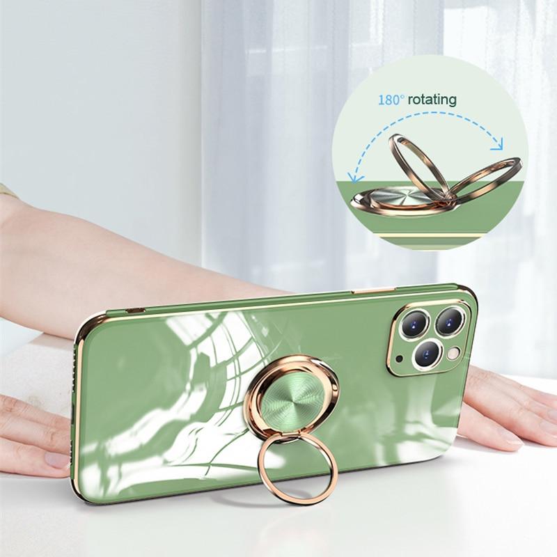 Plating Zachte Siliconen Case Voor Iphone 12 11 Pro Max Xs Mini Xr X S 7 8 Plus IPhone11 Telefoon magnetische Cover Met Ring Houder Stand 2