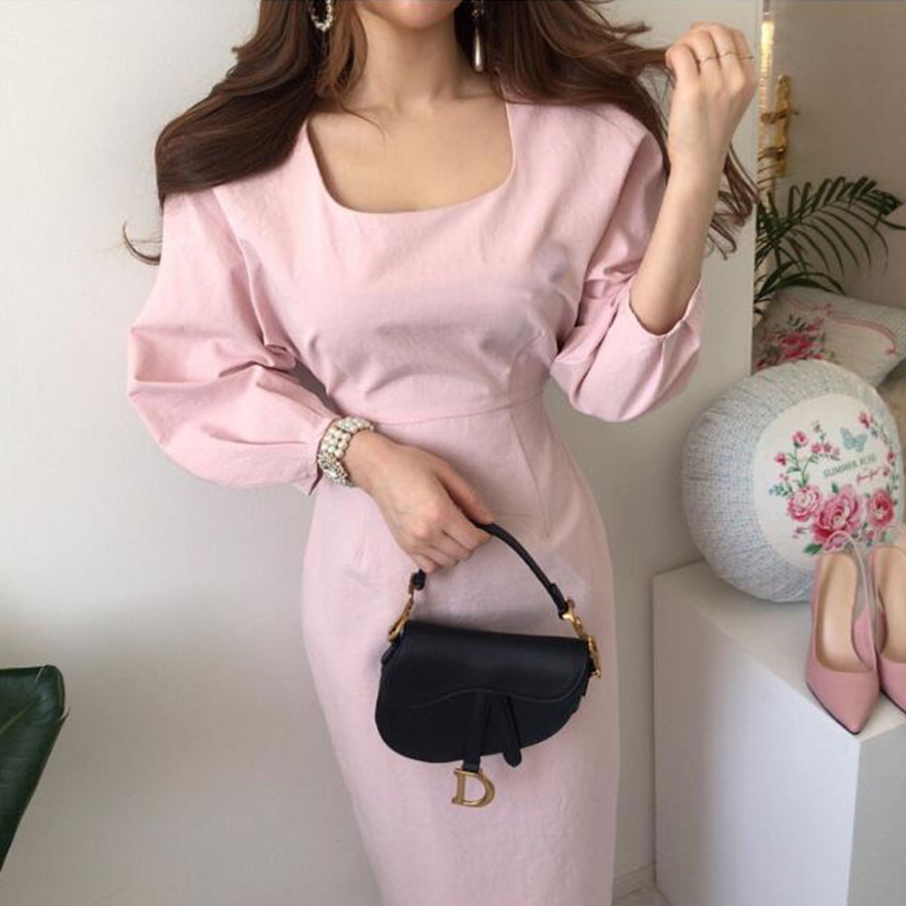 Dresses Female Three Quarter Puff Sleeve Square Collar Korean Slim Dress Women 2020 Summer Long Dress Bag Hip Bow Waist BW136