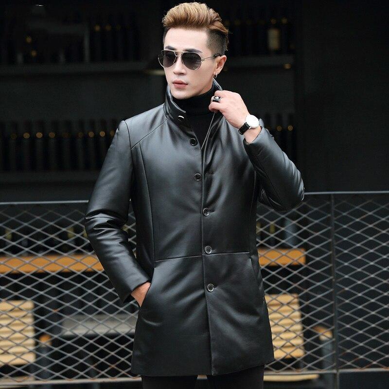 Winter Genuine Sheepskin Leather Jacket Men's Sheepskin Coat Long Thick Warm Parka Homme Outerwear T-01-1737 KJ1612