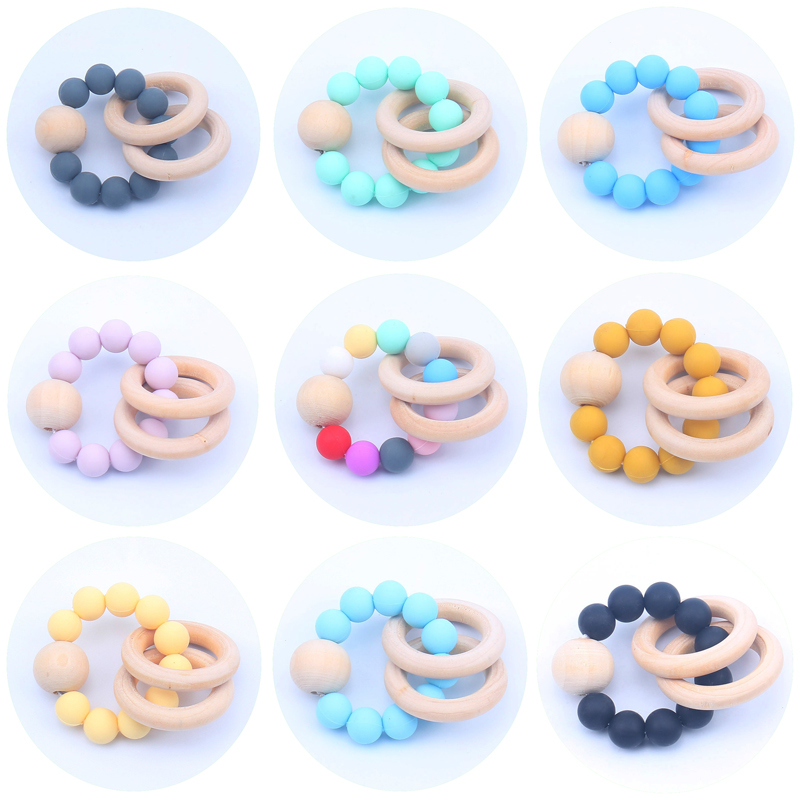 Hot Baby Woode Teether Rings Food Grade Beech Chews Pacifier Clip Holder Silicone Beads Pacifier Chains Teether Toys For Newborn