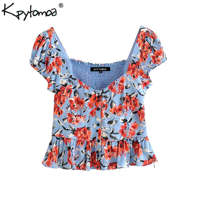 Vintage Sweet Floral Print Ruffles Tops Women Blouses 2020 Fashion V Neck Short Sleeve Back Elastic Shirts Casual Blusas Mujer