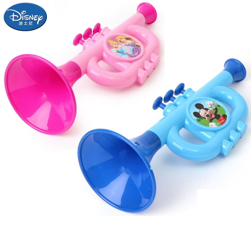 Disney Trumpet Toys Mickey Princess PVC Educational Toy Musical Instrument Learning & Education Children Original Gifts With Box
