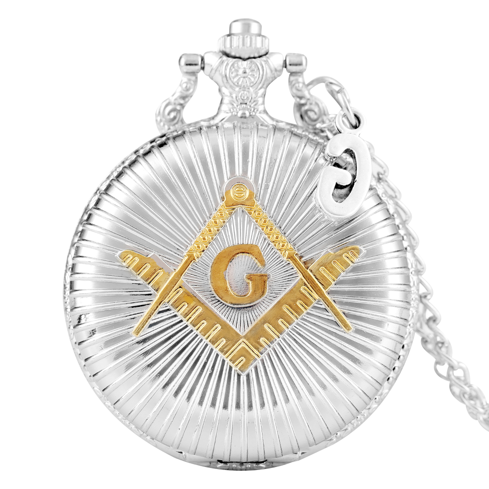 Luxury Silver Masonic Freemasonry Theme Alloy Quartz Pocket Watch Freemason Pendant  Hour Clock Necklace Chain With G Accessory