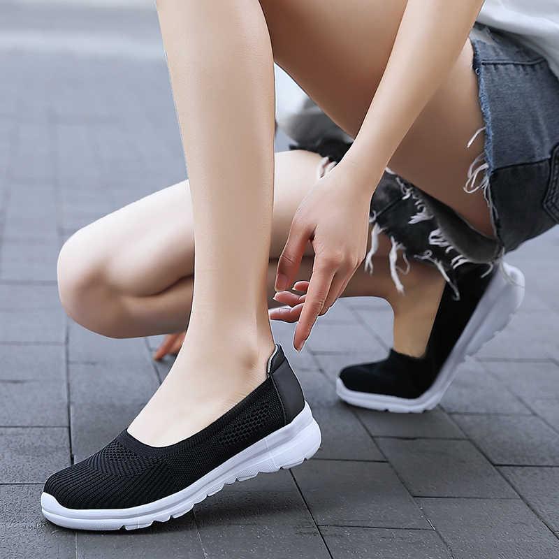 Áo Nữ Mùa Hè Thời Trang Thoáng Khí Giỏ Lưới Đựng Đồ Trượt Trên Căn Hộ Cho Nữ Tenis Giày Đi Bộ Tập Gym Nữ Nữ Giày Sneakers