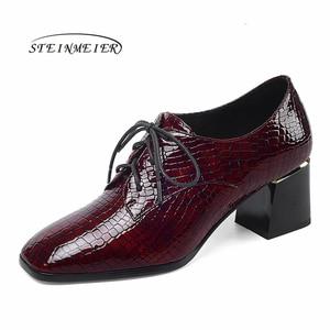 Image 1 - Женские летние туфли на высоком каблуке; модные туфли лодочки из натуральной кожи; весенние туфли на толстом каблуке; женские туфли на каблуке с квадратным носком и шнуровкой; 2020