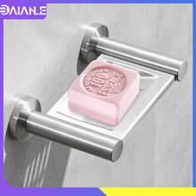 Bathroom Soap Holder Stainless Steel Drain Soap Dish Shower Storage Rack Wall Mounted Creative Home Hotel Toilet Soap Rack Tray все цены
