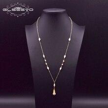 GLSEEVO Natürliche Frische Wasser Weiß Perle Lange Anhänger Halskette Für Frauen Mädchen Lovers Verlobung Geschenk Accesorios Mujer GN0159