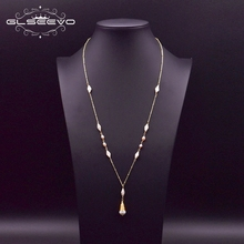 GLSEEVO Natural Fresh Water White Pearl Long Pendant Necklace For Women Girl Lovers Engagement Gift Accesorios Mujer GN0159