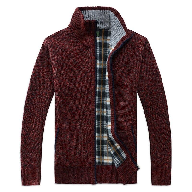 Men's Sweater Coat Stand Collar Zipper Cardigan Warm Slim Long Sleeve Thick Fashion Autumn Korean Casual Sweater For Men