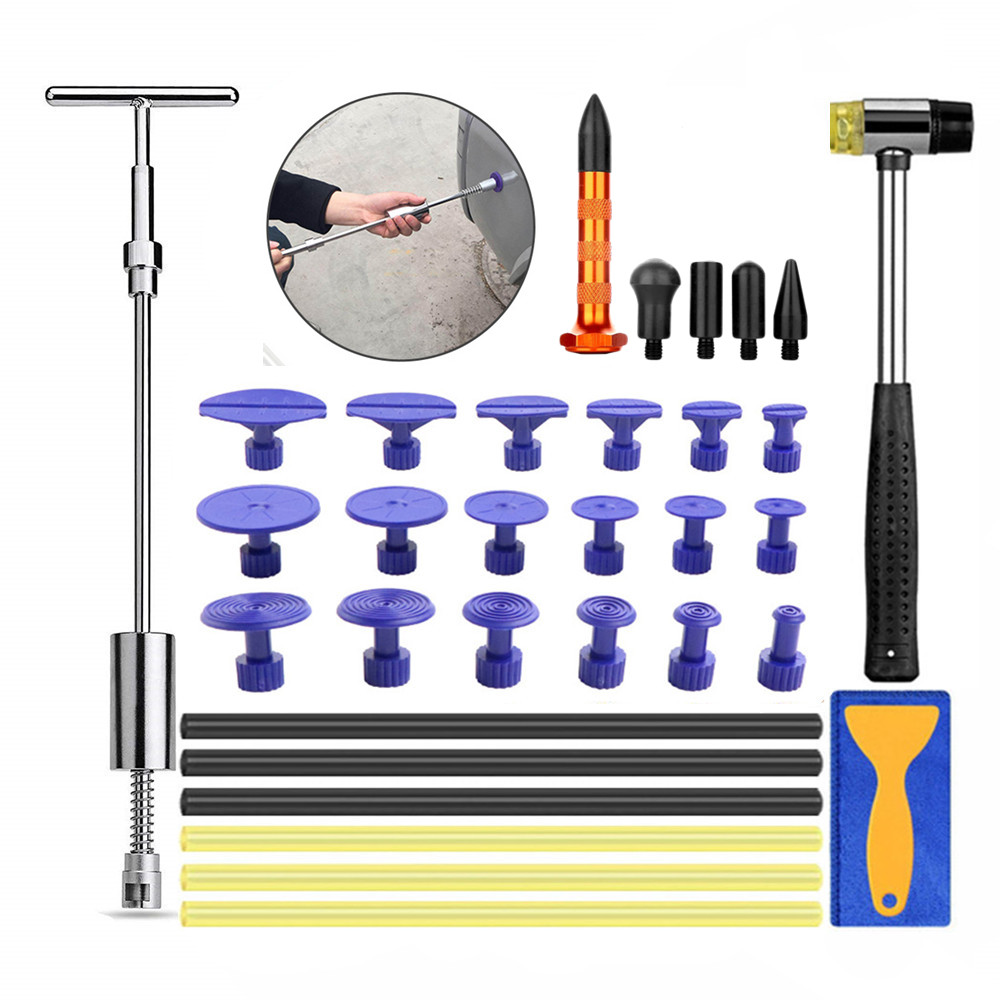 Sheet Metal Tools Paintless Dent Repair Kit Auto Body Dent Removal Slide Hammer Puller Tabs Tap Down Car Dent Repair PDR Kit
