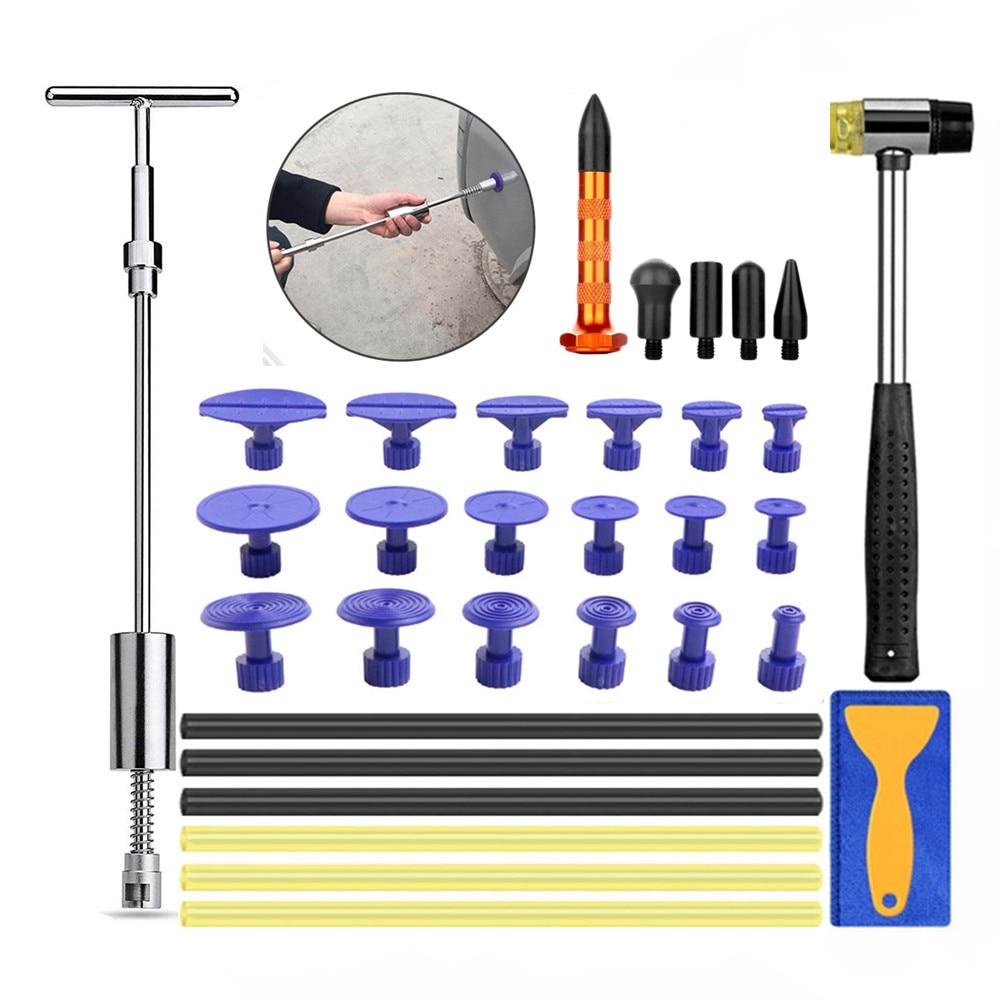 Sheet Metal Tools Paintless Dent Repair Kit Auto Body Dent Removal Slide Hammer Puller Tabs Tap Down Car Dent Repair PDR Kit