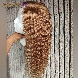 Image 5 - Медовый блонд, короткий Завитый парик из натуральных волос 13X6, глубокая часть, фронтальный парик с прядями волос для детей, цветные волосы Remy, 150% плотности