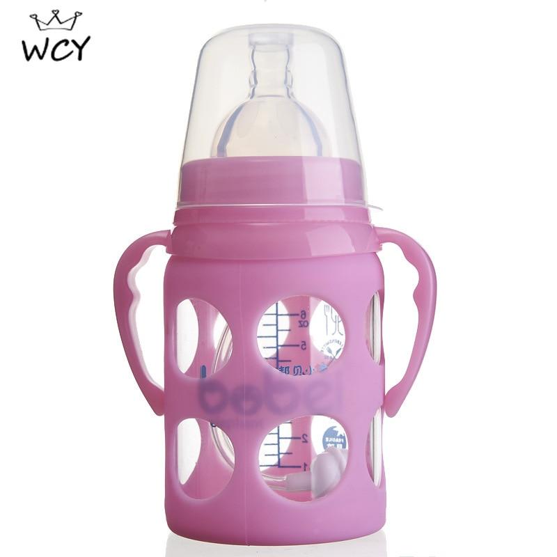180ml garrafa de vidro do bebe azul rosa garrafa de alimentacao com punho boca larga circulo