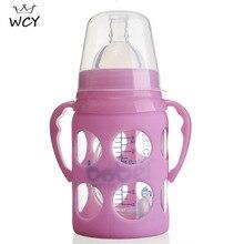 180ml Baby Glas Flasche Blau Rosa Fütterung Flasche mit Griff Breiten Mund Kreis Nagel Cilp Biberones Para Bebe Copo infantil 2020