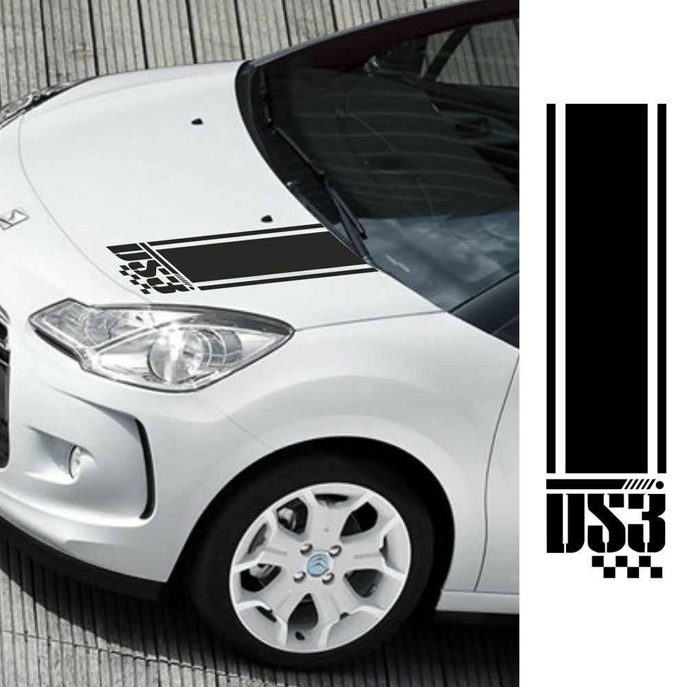 For Citroen DS3 Bonnet Stripes Decals Stickers Graphics Car Stickers Tu-887988