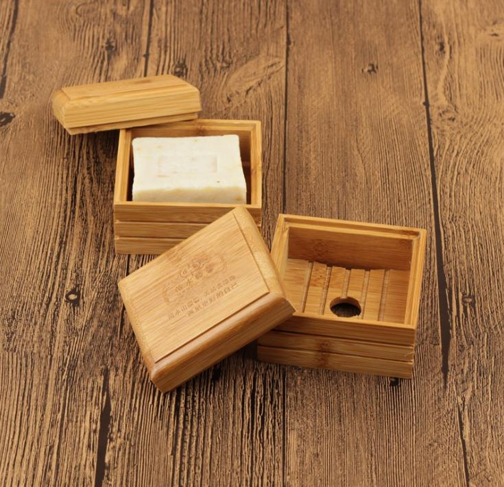 100pcs Natural Bamboo Soap Dish Wooden Soap Tray Holder Storage Soap Rack Plate Box Container For Bath Shower Plate Bathroom