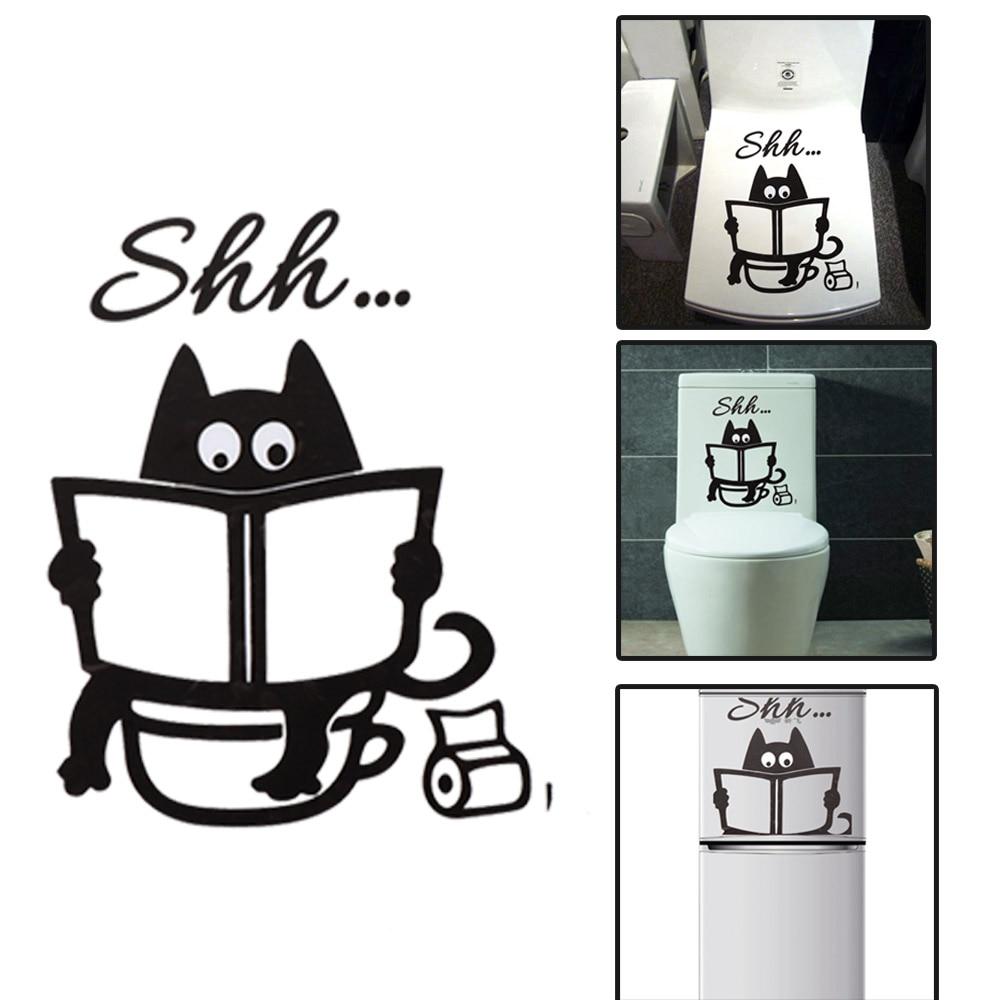 Cute Cartoon Cat Shh Toilet Stickers DIY Bathroom Door Toilet Seat Decorative Decal Funny Decor Poster Removable Vinyl Mural Art