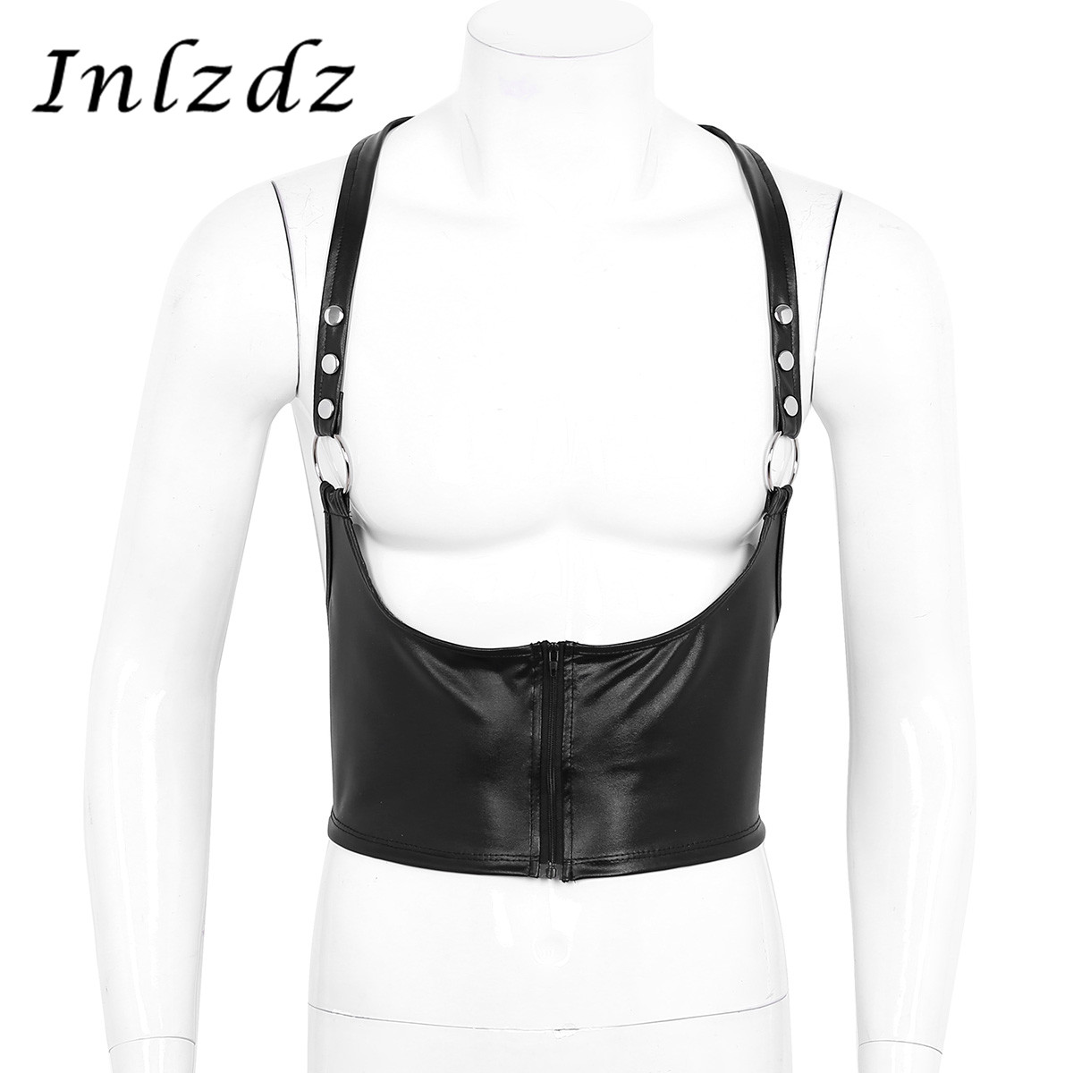 Mens Lingerie Harness Faux Leather Body Chest Harness Bondage Costume With Metal O-rings Hot Sexy Male Chest Harness