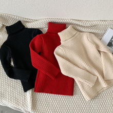 Knitted Sweater Girls Long-Sleeve Wool Winter Kids Fashion High-Necked New Thick Solid