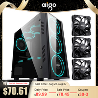 Aigo PC Gaming Fall ATX Turm Computer Fall mit 120mm PWM/ARGB Fan Front I/O USB typ-C Port Gehärtetem Glas PC Gamer Schrank