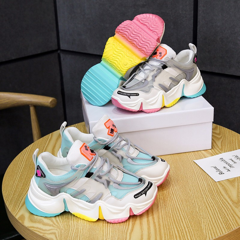 2020 Hot Summer Women Sneakers Vulcanize Breathable Rainbow Color Fashion Casuals Height Increasing Female Chunky Ladies Shoe 4