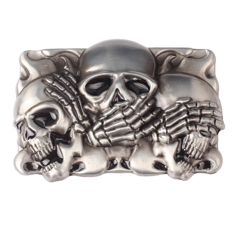 Skull Skeleton Belt Buckle Belt DIY Accessories Western Cowboy Style Smooth Belt Buckle Punk Rock Style K17