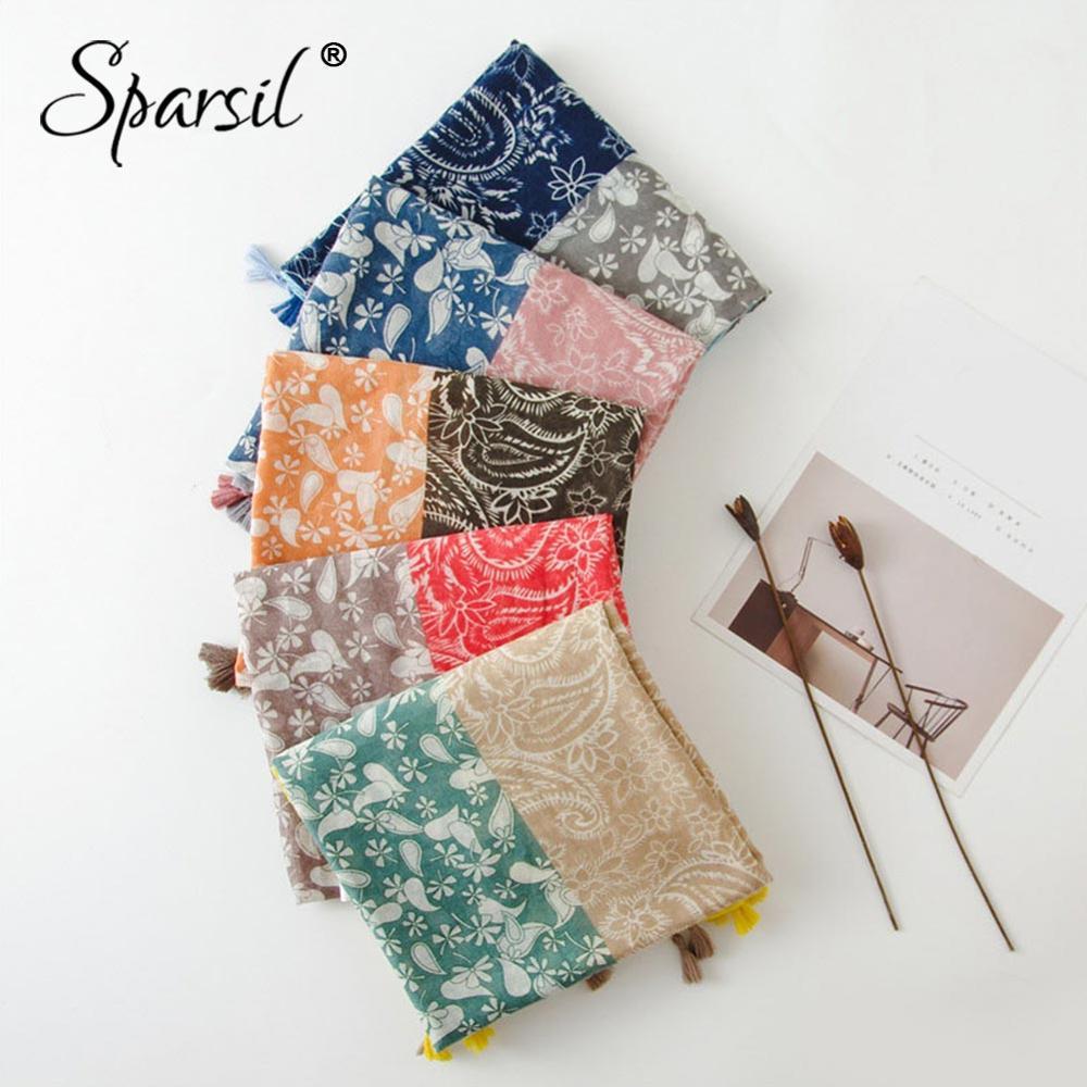 Sparsil Women Three-Color Printing Tassel Scarf Autumn Spring Thin Cotton Linen Travel Shawl 180*90 Female Soft Comfort Scarves