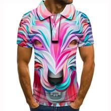 Polo con estampado 3d de zorro para hombre, camisa de calidad, informal, 2020