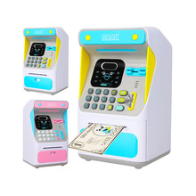 Electronic ATM Savings Bank Face Recognition Mini ATM Machine Password Automatic Roll Money Piggy Bank Children Creative Toy Gif