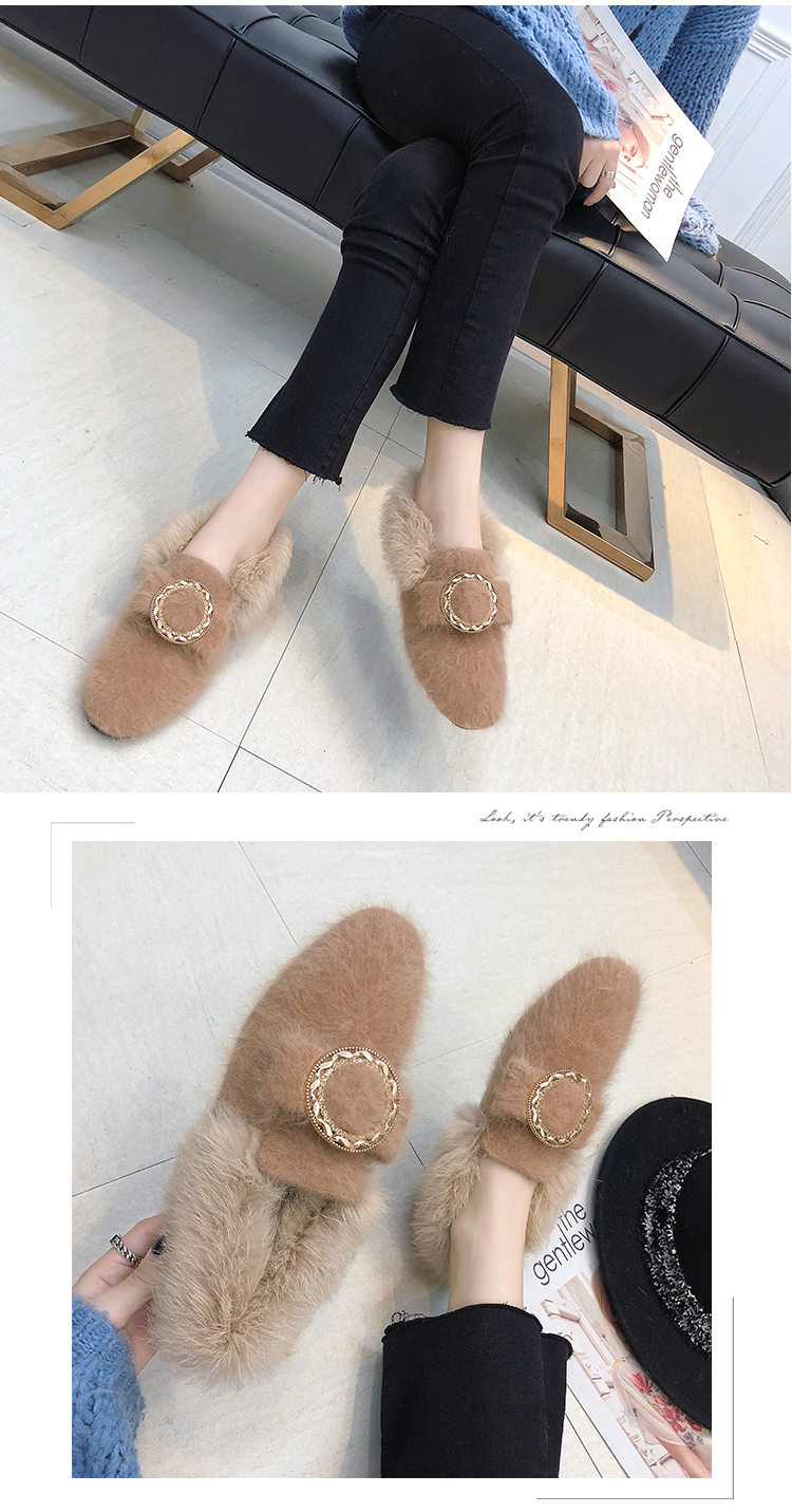 All-Match Shoes Woman 2019 Dress Flats Women Shallow Mouth Loafers Fur Modis Women's Moccasins Round Toe Casual Female Sneakers 42