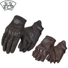 Guantes clásicos de moto SSPEC, guantes de medio dedo, guantes sin dedos, piel de cabra, guantes de verano para moto, bicicleta de carreras, ciclismo