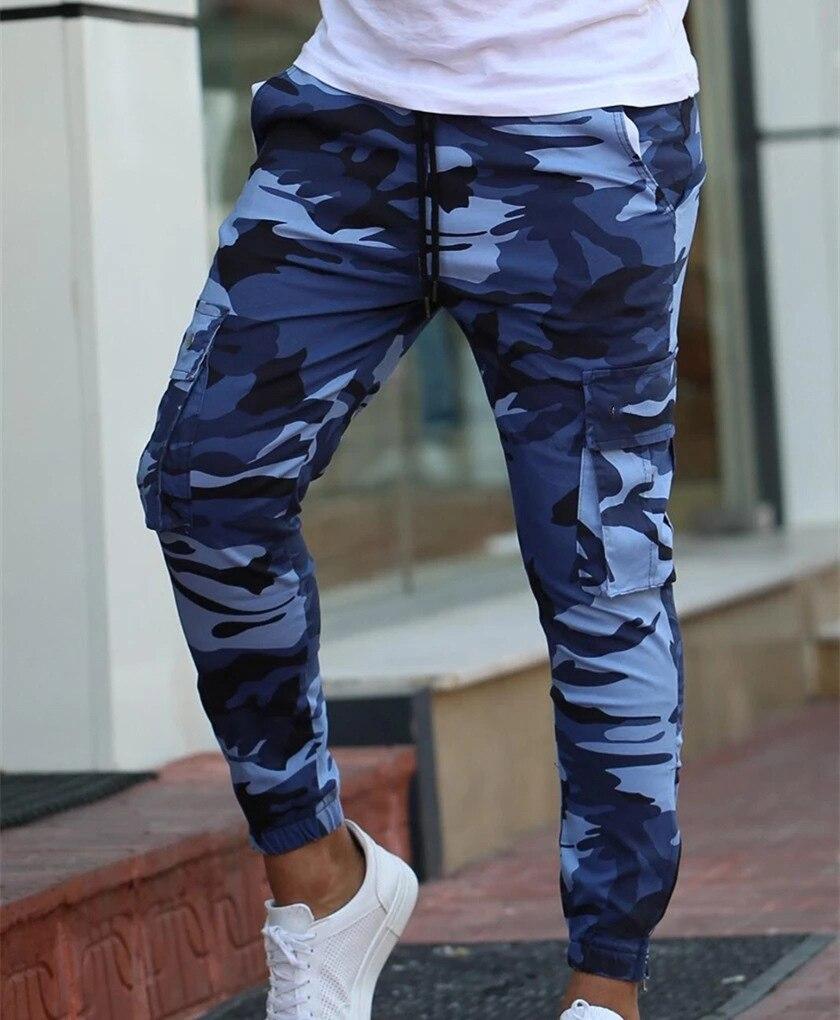 Color Camo Camouflage Cargo Pants 2019 Men Women Casual Streetwear Pockets Jogger Blue Tactical Sweatpants Hip Hop Trouser
