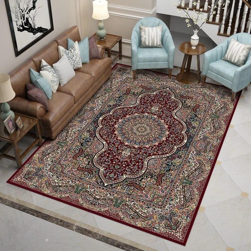 tapis de luxe rouge perse iran pour maison salon chambre a coucher 100 polypropylene haute qualite