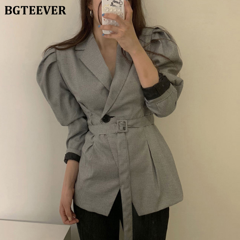 BGTEEVER Spring Workwear Plaid Women Blazers One Button Belted Puff Sleeve Female Suit Jacket Notched Neck Female Blazer Outwear