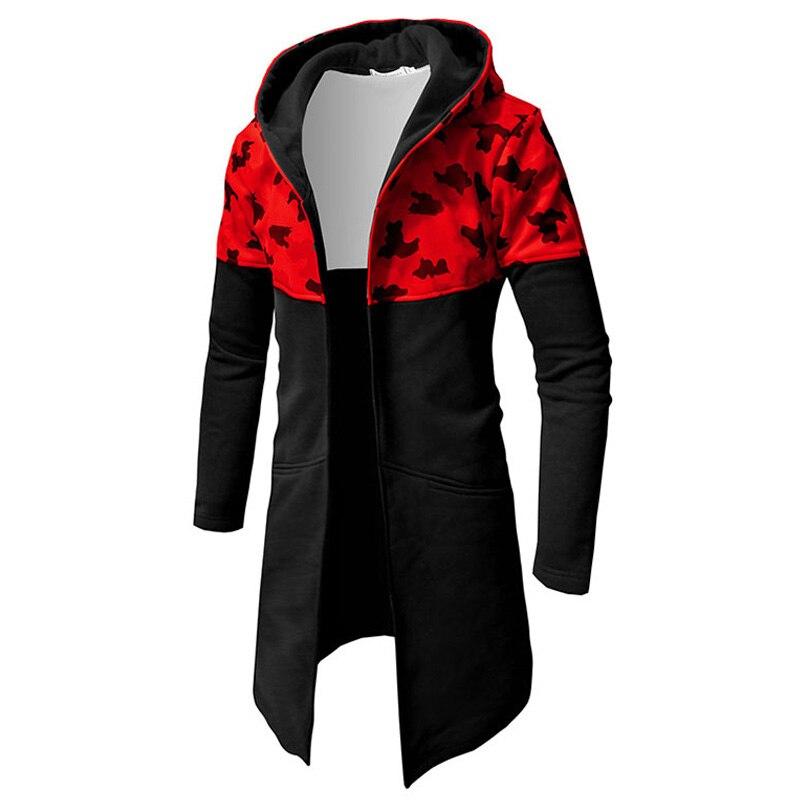 Autumn Winter Hoodie Sweatshirt Men Casual Camouflage Cardigan Long Sleeve Mens Hoodies Sweatshirts Long Coat Jacket Sweat Homme