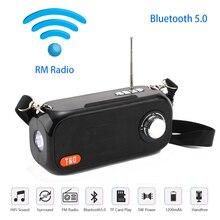 Portable Bluetooth Speaker Wireless Bass Column Outdoor USB Speakers Support AUX TF FM Radio Subwoofer Solar energy Loudspeak