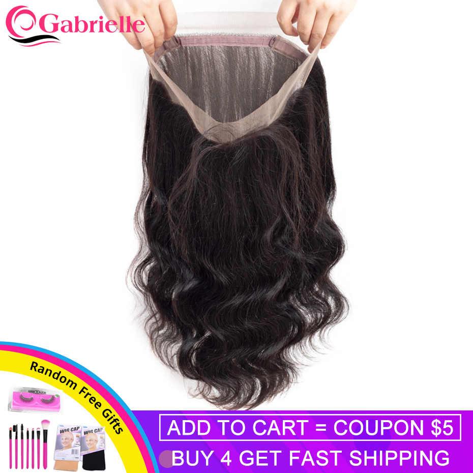 Gabrielle cabelo brasileiro onda do corpo 360 fechamento do laço frontal com o cabelo do bebê remy fechamento do laço do cabelo humano frontal frete grátis