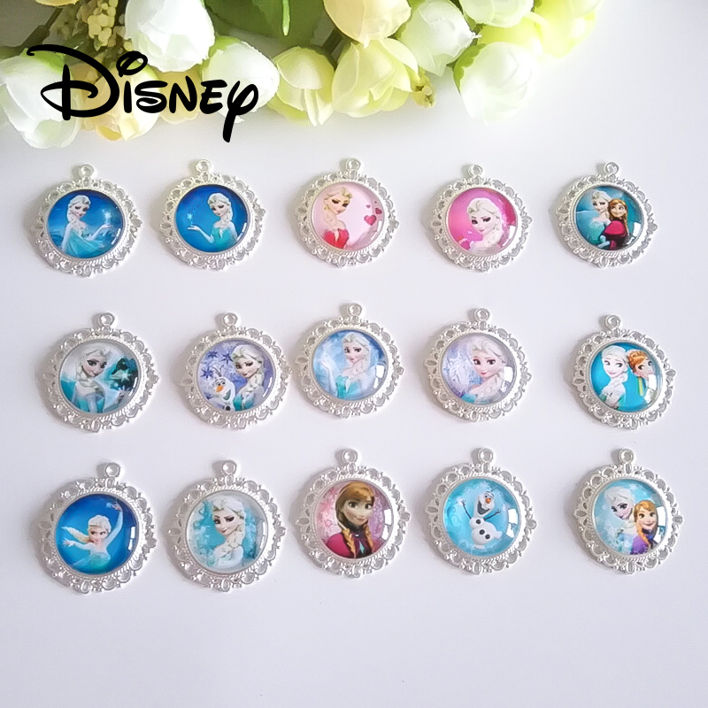 10pcs/lot Frozen Elsa Princess Pendant Beads Accessories Crystal Hair  Necklace Accessories Fashion Children Kids DIY Craft Mix